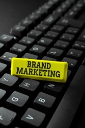 Conceptual display Brand Marketing. Internet Concept creating a name that identifies and differentiates a product Typing Online Website Informations, Editing And Updating Ebook Contents
