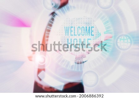 Conceptual display Welcome Home. Business overview Expression Greetings New Owners Domicile Doormat Entry Gentelman Uniform Standing Holding New Futuristic Technologies. Stock photo ©