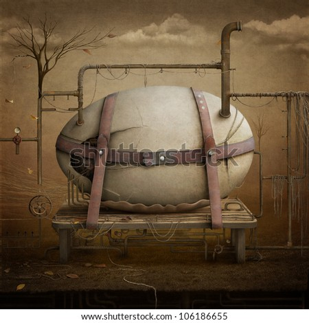 Conceptual drawing with  mechanical egg, illustration or poster. Computer Graphics. - stock photo