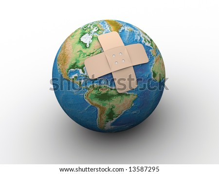 Conceptual - Earth globe with adhesive plaster - 3d render