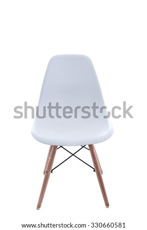 Conceptual Empty White Wooden Leg Chairs Isolated on White Background. #330660581