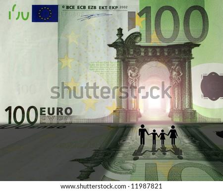 Conceptual: family entering Euro Kingdom