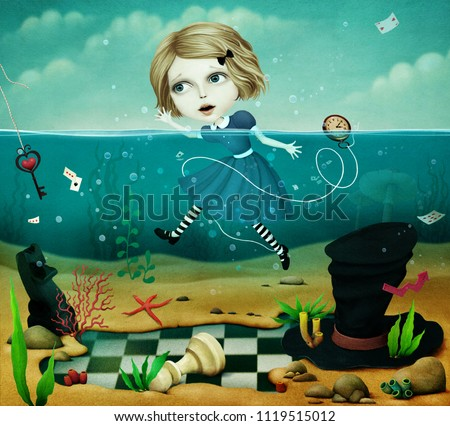 Conceptual fantastic illustration of  fairy tale Wonderland with  girl in sea.