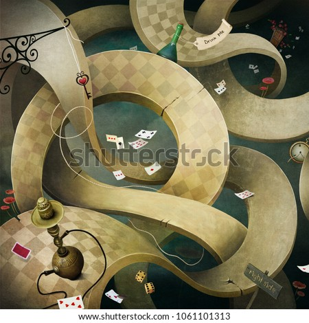 Conceptual fantasy background  for illustration or poster or photo wallpaper  with muddle road Wonderland