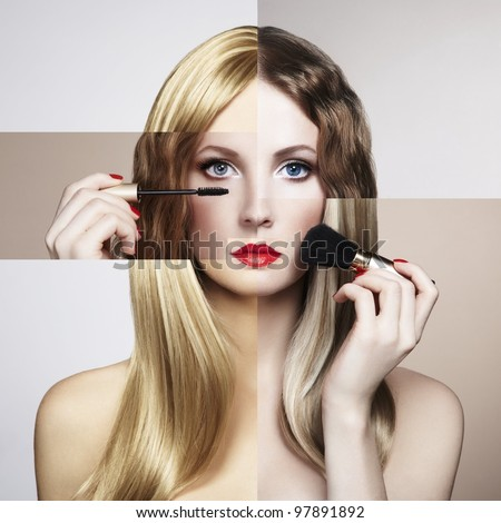 Conceptual fashion portrait of a beautiful young woman. Conceptual collage