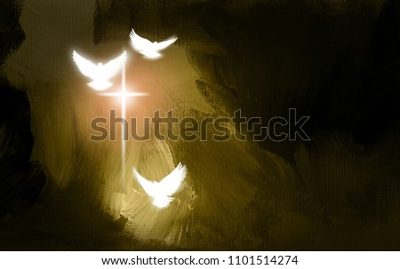 Conceptual graphic illustration of glowing Christian cross  white doves, symbolizing Jesus Christ's sacrificial work of salvation. Digital artwork composed against abstract oil painted background.
