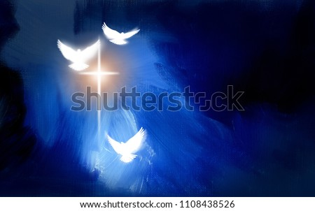 Conceptual graphic of glowing Christian cross with three white doves, symbolizing Jesus Christ's victorious sacrificial work of salvation. Art composed against abstract oil painted background.