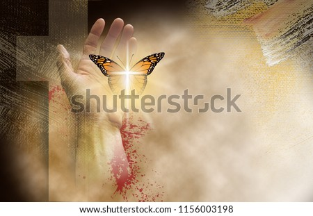 Conceptual graphic of the Christian cross of Jesus with hand setting a reborn butterfly free. Art symbolic of new spiritual life found in Christ's mercy and sacrifice for forgiveness of sins.