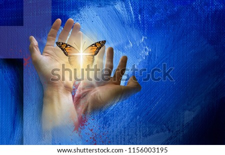 Conceptual graphic of the Christian cross of Jesus with hands setting a reborn butterfly free. Art symbolic of new spiritual life found in Christ's mercy and sacrifice for forgiveness of sins.