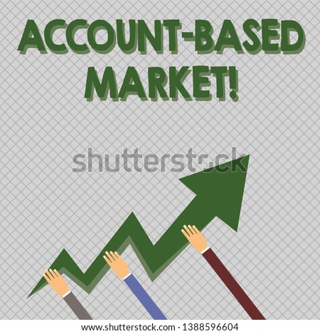 Conceptual hand writing showing Account Based Market. Business photo text resources target a key group of specific accounts Hands Holding Zigzag Lightning Arrow Pointing and Going Up.