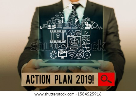 Conceptual hand writing showing Action Plan 2019. Business photo showcasing proposed strategy or course of actions for current year.