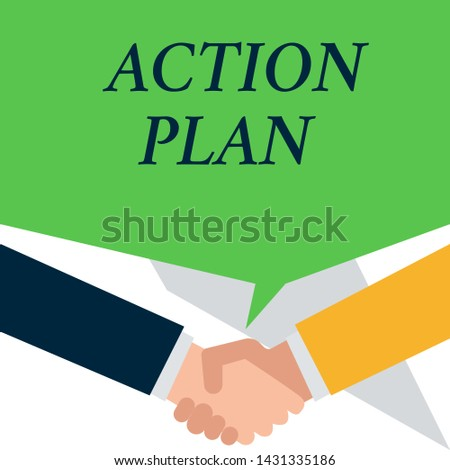 Conceptual hand writing showing Action Plan. Business photo showcasing proposed strategy or course of actions for certain time People have conversation greet each other and shake hands.