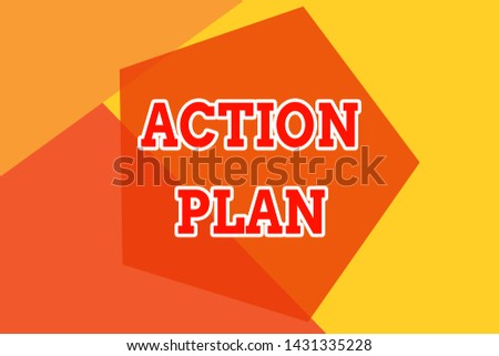 Conceptual hand writing showing Action Plan. Business photo showcasing proposed strategy or course of actions for certain time Geometric design card Applicable for covers posters banner.