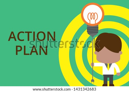 Conceptual hand writing showing Action Plan. Business photo showcasing proposed strategy or course of actions for certain time Standing man tie holding plug socket light bulb Idea Startup.