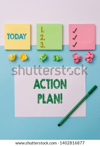 Conceptual hand writing showing Action Plan. Business photo text proposed strategy or course of actions for certain time Stationary placed sideways on top of the softhued backdrop. #1402816877