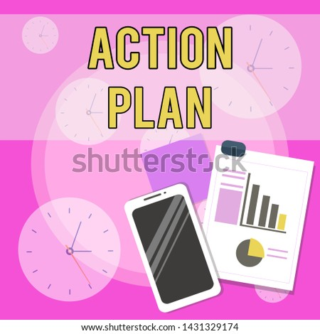 Conceptual hand writing showing Action Plan. Business photo text proposed strategy or course of actions for certain time Layout Smartphone Sticky Notes with Pie Chart and Bar Graph.