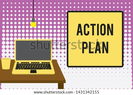 Conceptual hand writing showing Action Plan. Business photo text proposed strategy or course of actions for certain time Front view laptop lying on wooden desktop light bulb glass.