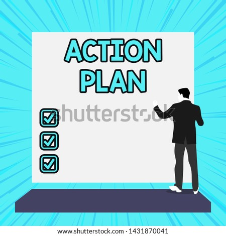 Conceptual hand writing showing Action Plan. Business photo text proposed strategy or course of actions for certain time Woman watching blank big rectangle. Geometrical background.