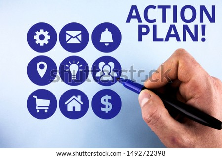 Conceptual hand writing showing Action Plan. Business photo text proposed strategy or course of actions for certain time Male designing layout presentation concept for business promotion.