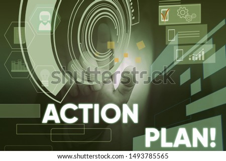 Conceptual hand writing showing Action Plan. Business photo text proposed strategy or course of actions for certain time Male wear formal suit presenting presentation smart device.
