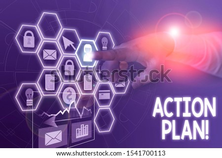 Conceptual hand writing showing Action Plan. Business photo text proposed strategy or course of actions for certain time Picture photo network scheme with modern smart device. #1541700113