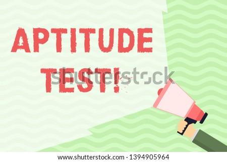 Conceptual hand writing showing Aptitude Test. Business photo showcasing designed to determine a demonstrating s is ability in a particular skill Hand Holding Megaphone with Wide Beam Extending the