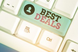 Conceptual hand writing showing Best Deals. Business photo text very successful transaction or business agreement or a bargain.