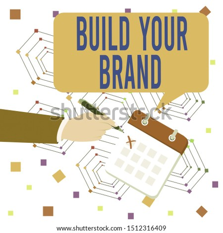Conceptual hand writing showing Build Your Brand. Business photo text enhancing brand equity using advertising campaigns Formal Suit Crosses Off One Day Calendar Red Ink Ballpoint Pen.