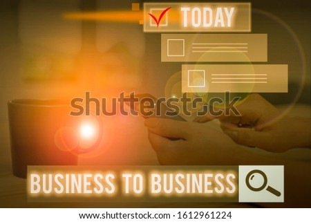 Conceptual hand writing showing Business To Business. Business photo text Commercial Transaction between two Businesses.