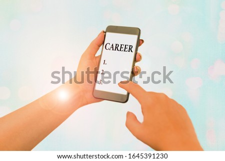 Conceptual hand writing showing Career. Business photo text undertaken for period demonstratings life with opportunities for progress..