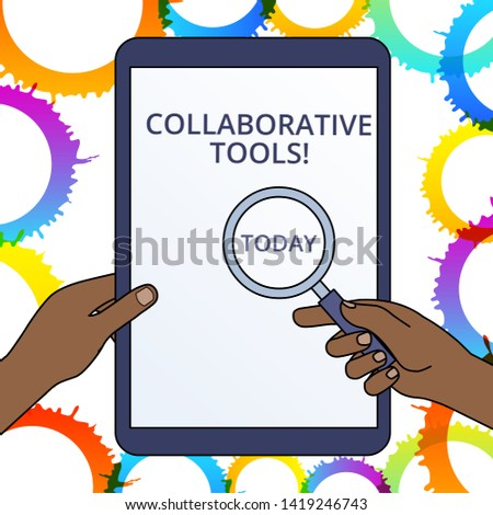 Conceptual hand writing showing Collaborative Tools. Business photo text Private Social Network to Connect thru Online Email Hands Holding Magnifying Glass Against Switched Off Tablet.
