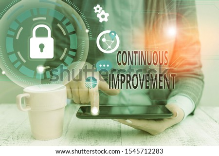 Conceptual hand writing showing Continuous Improvement. Business photo showcasing ongoing effort to improve products or processes Female human wear formal work suit presenting smart device.