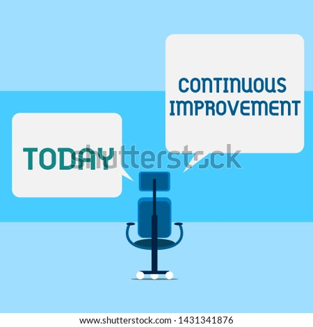Conceptual hand writing showing Continuous Improvement. Business photo text ongoing effort to improve products or processes Executive chair sharing two square speech bubbles right left side.