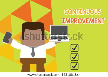 Conceptual hand writing showing Continuous Improvement. Business photo text ongoing effort to improve products or processes Professional man holding laptop in left mobile phone right.