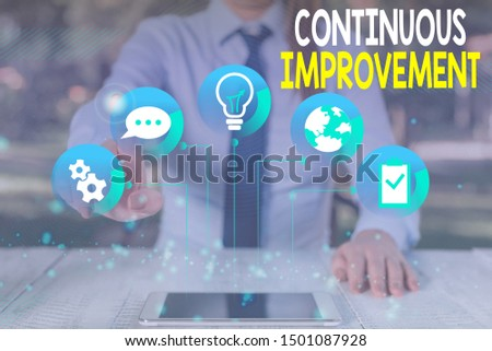 Conceptual hand writing showing Continuous Improvement. Business photo text ongoing effort to improve products or processes Female human wear formal work suit presenting smart device.