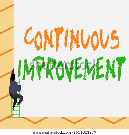 Conceptual hand writing showing Continuous Improvement. Business photo text ongoing effort to improve products or processes One Male climb up the tall high wall use short ladder stairway.
