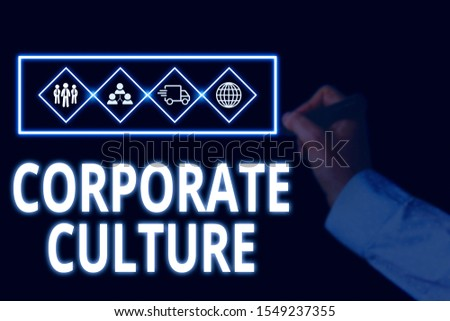 Conceptual hand writing showing Corporate Culture. Business photo showcasing pervasive values and attitudes that characterize a company Picture photo network scheme with modern smart device.