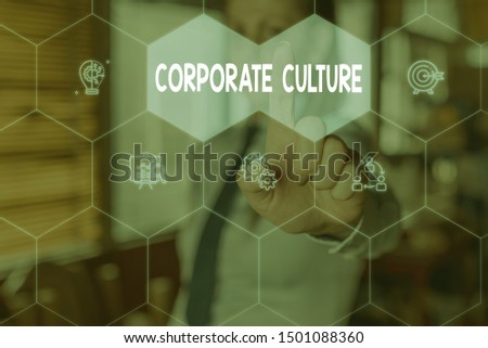 Conceptual hand writing showing Corporate Culture. Business photo text pervasive values and attitudes that characterize a company Woman wear work suit presenting presentation smart device. #1501088360