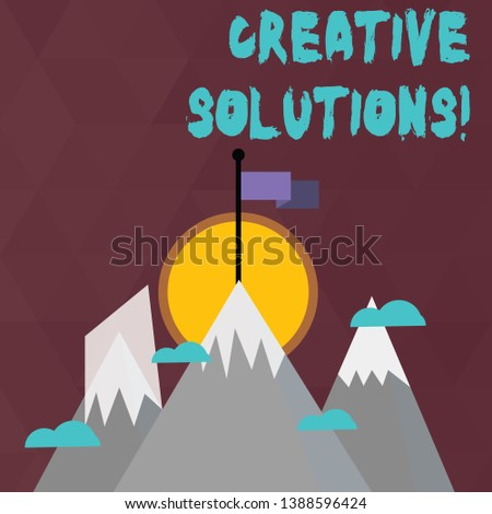 Conceptual hand writing showing Creative Solutions. Business photo text mental process of creating a solution to a problem Three High Mountains with Snow and One has Flag at the Peak.