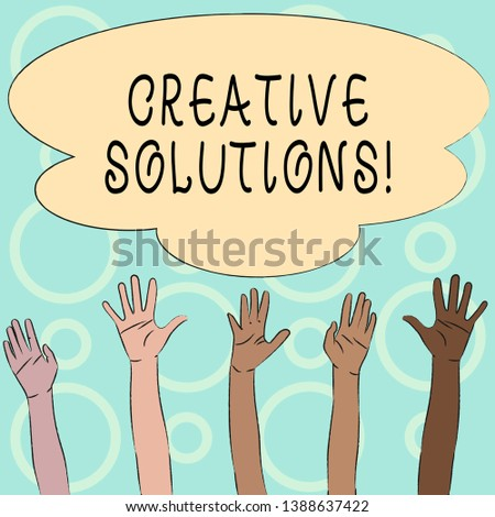 Conceptual hand writing showing Creative Solutions. Business photo text mental process of creating a solution to a problem Multiracial Hands Raising Up Reaching for Colorful Big Cloud.
