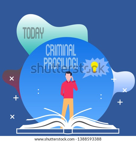 Conceptual hand writing showing Criminal Profiling. Business photo text Develop profiles for criminals who not yet apprehended Man Standing Behind Open Book Jagged Speech Bubble with Bulb.
