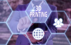 Conceptual hand writing showing 3D Printing. Business photo showcasing making a physical object from a threedimensional digital model.