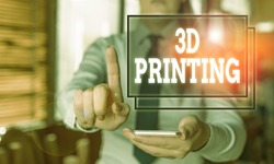 Conceptual hand writing showing 3D Printing. Business photo text making a physical object from a threedimensional digital model Woman in the background pointing with finger in empty space.