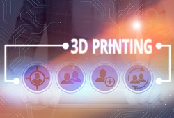 Conceptual hand writing showing 3D Printing. Business photo text making a physical object from a threedimensional digital model.