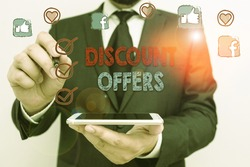 Conceptual hand writing showing Discount Offers. Business photo text amount or percentage deducted from the normal selling price.