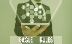 Conceptual hand writing showing Eagle Rules. Business photo showcasing a huge set of design rules which your layout needs to pass.