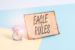Conceptual hand writing showing Eagle Rules. Business photo text a huge set of design rules which your layout needs to pass Alarm clock beside a Paper sheet placed on pastel backdrop.