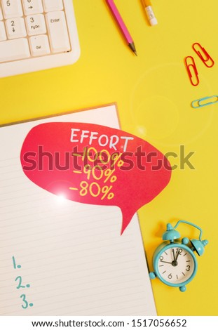 Conceptual hand writing showing Effort 100 Percent 90 Percent 80 Percent. Business photo showcasing Level of determination discipline motivation Empty red bubble paper on the table with pc keyboard.