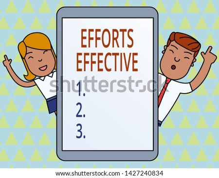 Conceptual hand writing showing Efforts Effective. Business photo showcasing Produces the results as per desired Goal Target Achieve Male and Female Index Fingers Tablet Smartphone Device.