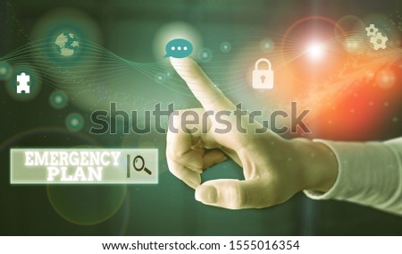 Conceptual hand writing showing Emergency Plan. Business photo text procedures for handling sudden or unexpected situations Picture photo network scheme with modern smart device.